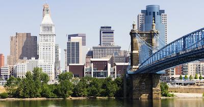 Downtown Cincinnati Skyline and Roebling Bridge